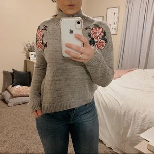 Cloud Chaser Sweaters - Cloud Chaser Mock Neck Floral Embroidered Sweater